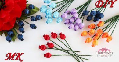 آموزش ساخت تمشک های کوچک برای تزیین انواع گل های کانزاشی و روبانی+ویدئو