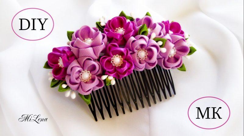 آموزش ساخت شانه سر با گل های ظریف روبانی