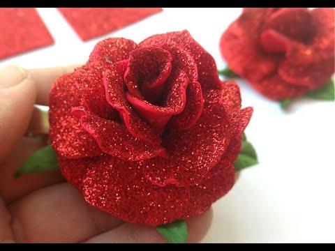 آموزش ساخت گل رز با فوم اکلیلی بدون الگو