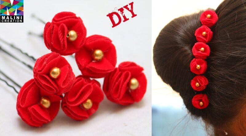 آموزش ساخت سنجاق با گل های مخملی