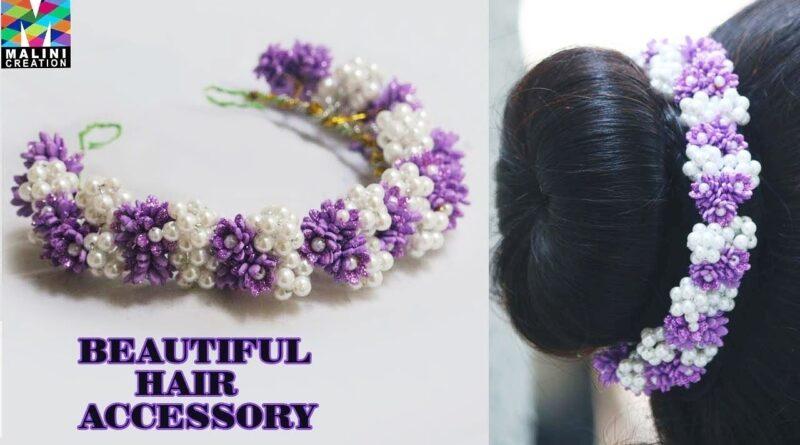 آموزش ساخت ریسه مو به سبک هندی با گل های فومی و مروارید