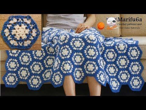 بافت پتو چهل تکه با شش ضلعی های آبی و سفید