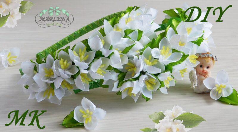 آموزش ساخت تل سر با گل های ظریف روبانی