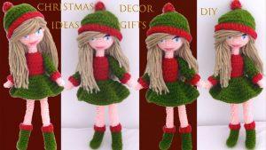 آموزش قلاب بافی فوق حرفه ای/عروسک دختر کریسمسی