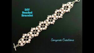 آموزش ساخت دستبند طرح عروس با مروارید و مهره