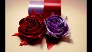 آموزش ساخت غنچه نیمه باز گل رز با روبان ساتنی