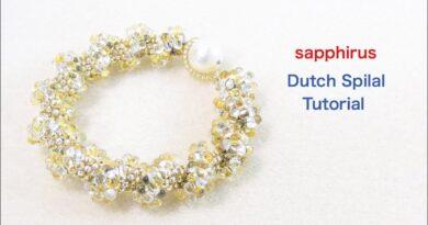 آموزش بافت دستبند منجوقی پهن مارپیچ هلندی