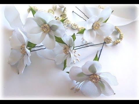 آموزش ساخت سنجاق سر با گل های از روبان باریک
