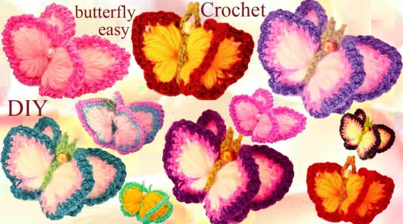 پروانه های ساده قلاب بافی