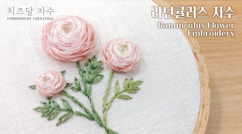 آموزش گلدوزی با ویدئو کامل و واضح/ گلدوزی گل آلاله پُرپَر/ زبان کره ای با تصویر طرح گلدوزی