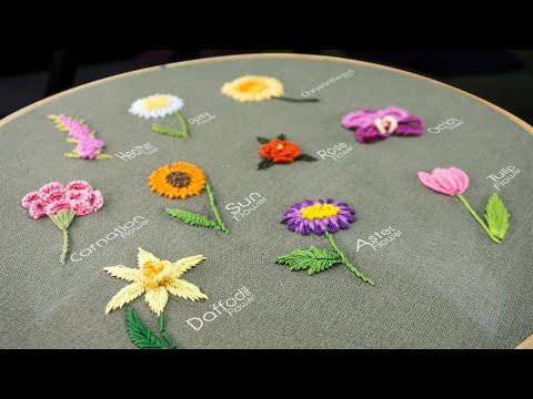 آموزش گلدوزی با بخیه های ساده/ ده مدل گل زیبا همراه با ویدئو بی کلام