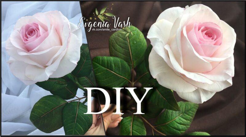 آموزش کامل ساخت گل رز سفید فوق طبیعی با فوم همراه با ویدئو به زبان روسی