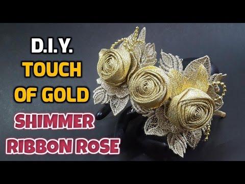 آموزش ساخت سنجاق سر با گل های روبانی طلایی اکلیلی همراه با ویدئو بی کلام