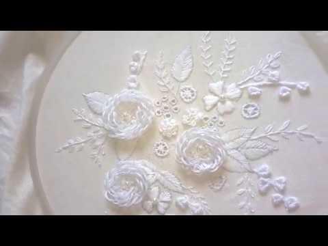 آموزش گل دوزی/ گل های سفید برجسته همراه با ویدئو بی کلام