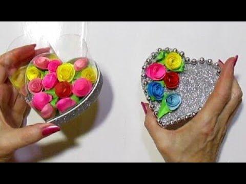 آموزش ساخت جعبه هدیه قلبی شکل با بطری و فوم اکلیلی همراه با ویدئو بی کلام
