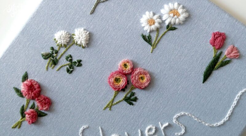 آموزش گلدوزی / گل لاله، گل صدتومانی و آلاله پُرپَر همراه با ویدئو به زبان کره ای
